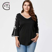 GIYI Plus Size 5XL Autumn 2017 Side Lace Up Top Flare Sleeve Blouse Shirt Women Clothes