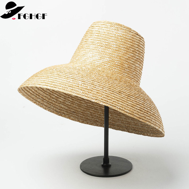 15885f66 2019 Classical Straw Hat for Men Women15cm Wide Brim Summer Hat Beach Sun  Hat Cap U.V.