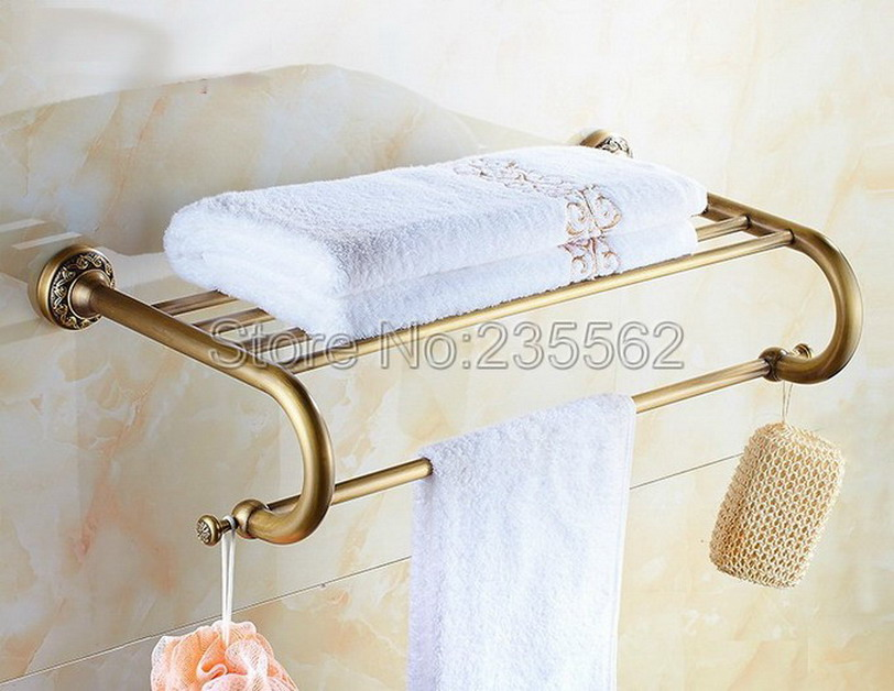 Antique Brass Carved Base Bathroom Accessories Wall Mounted Shower Towel Rack Shelf Bar Rails Holder lba484Antique Brass Carved Base Bathroom Accessories Wall Mounted Shower Towel Rack Shelf Bar Rails Holder lba484