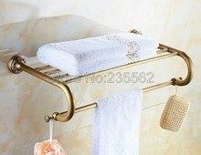 Античная латунь Резные База Аксессуары для ванной комнаты настенный душ Полотенца полка бар рельсы держатель lba484