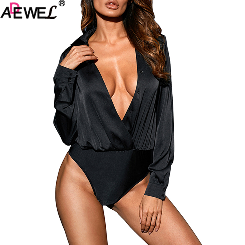 ADEWEL Sexy Deep V Neck Long Sleeve Bodysuit Solid Pearl Button Faux Wrap Silk Women Bodysuit Black White Ladies Top Jumpsuit