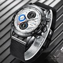 LIGE relojes de lujo para hombre, reloj masculino resistente al agua, con fecha ultradelgado, cronógrafo de cuarzo informal, 2020