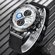 Reloj hombre 2020 LIGE Top Brand di Lusso Mens Orologi Impermeabile Ultra Sottile Data Orologio Da Polso Maschile Cronografo Casual Orologio Al Quarzo