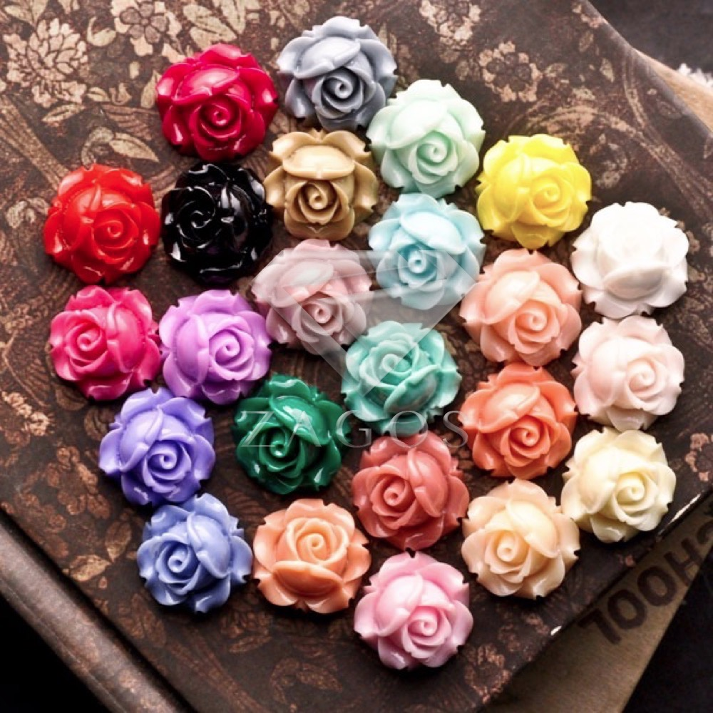 12/24Pcs Resin Vintage Style Rose Flower Flat Back Cameo Cabochon 15x15x8mm For Jewelry Making Accessories Wholesale RB0747