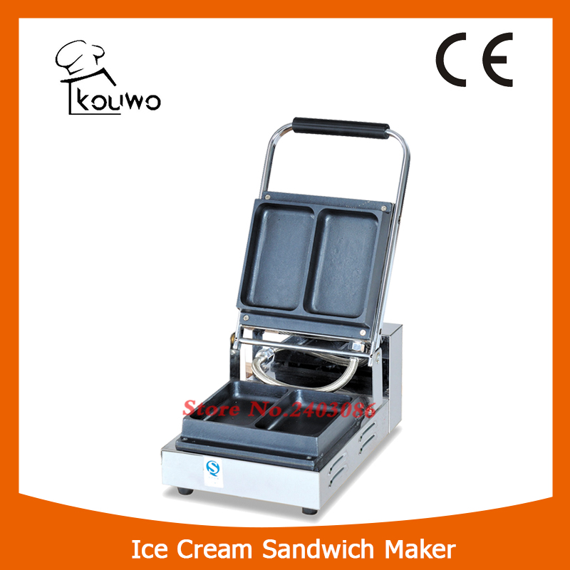 KW-2A stainless steel waffle machine ice cream sandwich waffle maker for snack equipment square pan rolled fried ice cream making machine snack machinery