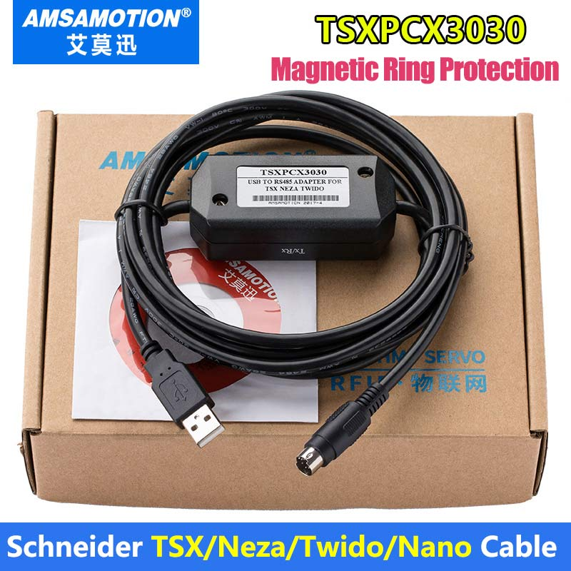 TSXPCX3030-C TSXPCX3030 Suitable Schneider TSX/Neza/Twido/Nano PLC Programming Cable tsxpcx3030 is for tsx premium 57 tsx micro 37 tsx nano 07 tsx naza 08 and twido plc programming with master slave switch