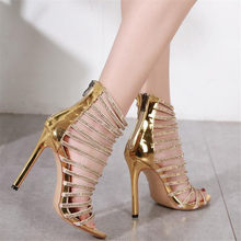 2018 Summer Women Gladiator Sandals 11.5CM High Heels Gold Glitter Sandals  Hollow Out Rhinestone Party Sandales Plus Size 35-42 ee1b26967546