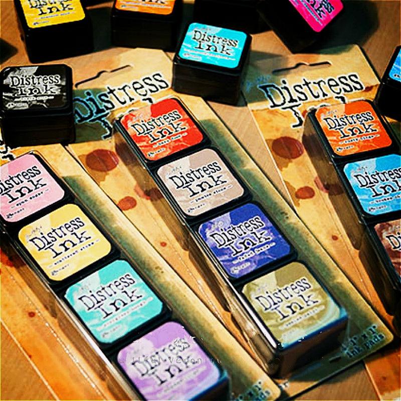 4PCS Ranger Tim Holtz Distress Ink Mini Old Antique Stamp Pad Printing Pad Scrapbook, Card Stamp Pad Ink