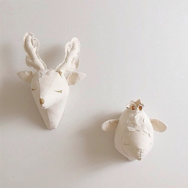 Cute 3D Animal Deer Unicorn Sheep Head Stuffed Plush Toys Baby Kids Room Wall Decoration Artwork Wall Hanging Dolls Nordic Style fancytrader new style giant plush stuffed kids toys lovely rubber duck 39 100cm yellow rubber duck free shipping ft90122