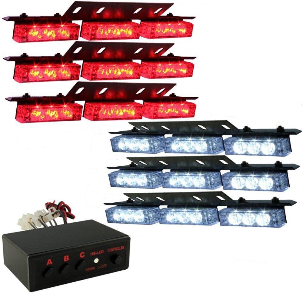 54 LED Emergency Car Vehicle Strobe Flash Lights Bars Warning Red White