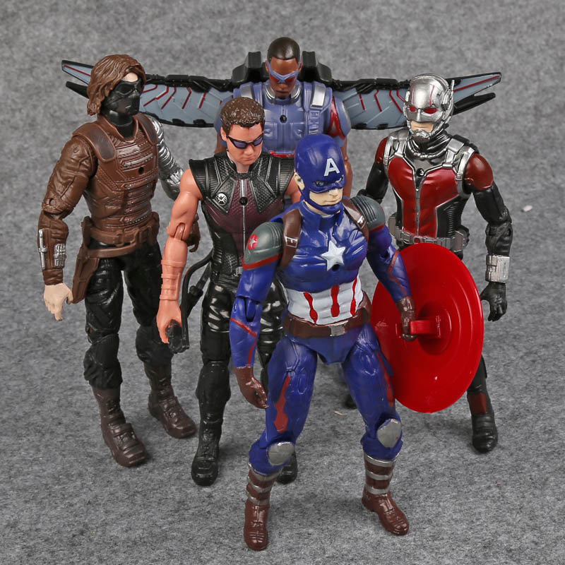 цена на Captain America 3 Civil War Captain America Ant-Man Hawkeye Falcon Bucky PVC Action Figures Toys 5pcs/set