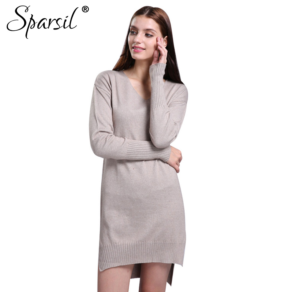 Ginia Cashmere Gowns Wrap Gown: Sparsil Women's Autumn Simple V Neck Long Sleeve Cashmere