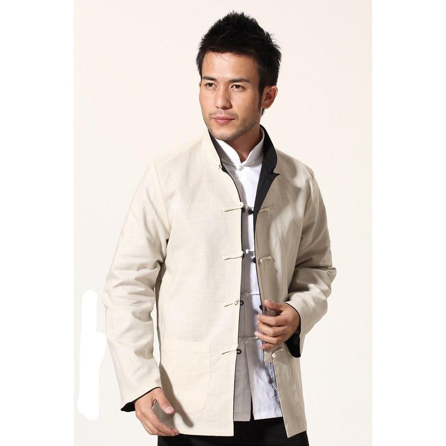 Black Beige Novelty Reversible Chinese Men Jacket Cotton Linen Kung Fu Coat Two Side Outwear M L XL XXL XXXL MN18