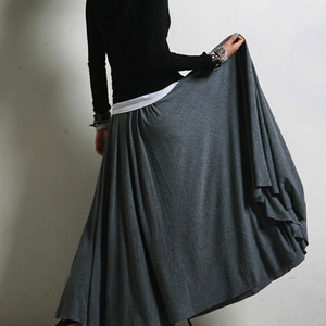 Image 2 - New Casual Elegant Women Cotton Long Skirts Elastic Waist Pleated Maxi Skirts Beach Boho Vintage Summer Skirts Faldas Saia D160