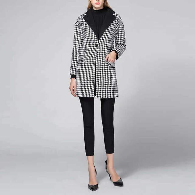 2017 top de vendas Mulheres outwear Sobretudo manga comprida faculdade streerwear escritório casaco corta-vento fino branco e preto s m l xl