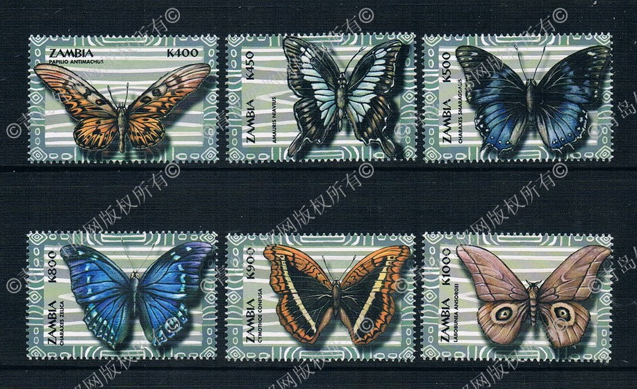 2000 Zambia EA2079 butterfly stamps 6 new 0916 charity lengwe meki kombe free primary education policy in zambia