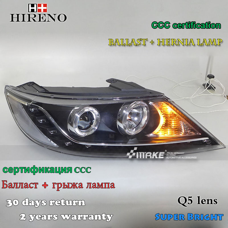 Hireno Headlamp for 2010-2012 KIA Sorento Headlight Assembly LED DRL Angel Lens Double Beam HID Xenon 2pcs headlight for kia k2 rio 2015 including angel eye demon eye drl turn light projector lens hid high low beam assembly