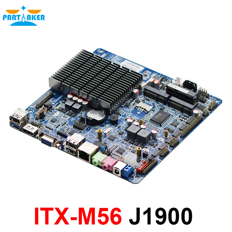 ITX-M56 VER:1.6 Fanless AIO motherboard intel J1900 Bay Trail quad core Mini Itx Motherboard wifi /3g /2*RS232 1*RTL 8111E купить недорого в Москве