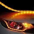Кей-закаленного stying белый желтеют слезы гибкий фар из светодиодов полоса дневного света DRL декоративные с поворотным светом
