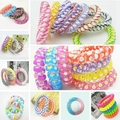 10pcs/Lot Telephone Line Gum Colored Elastic Hair Band For Girl Rope Accessories 5cm 2015 Hot