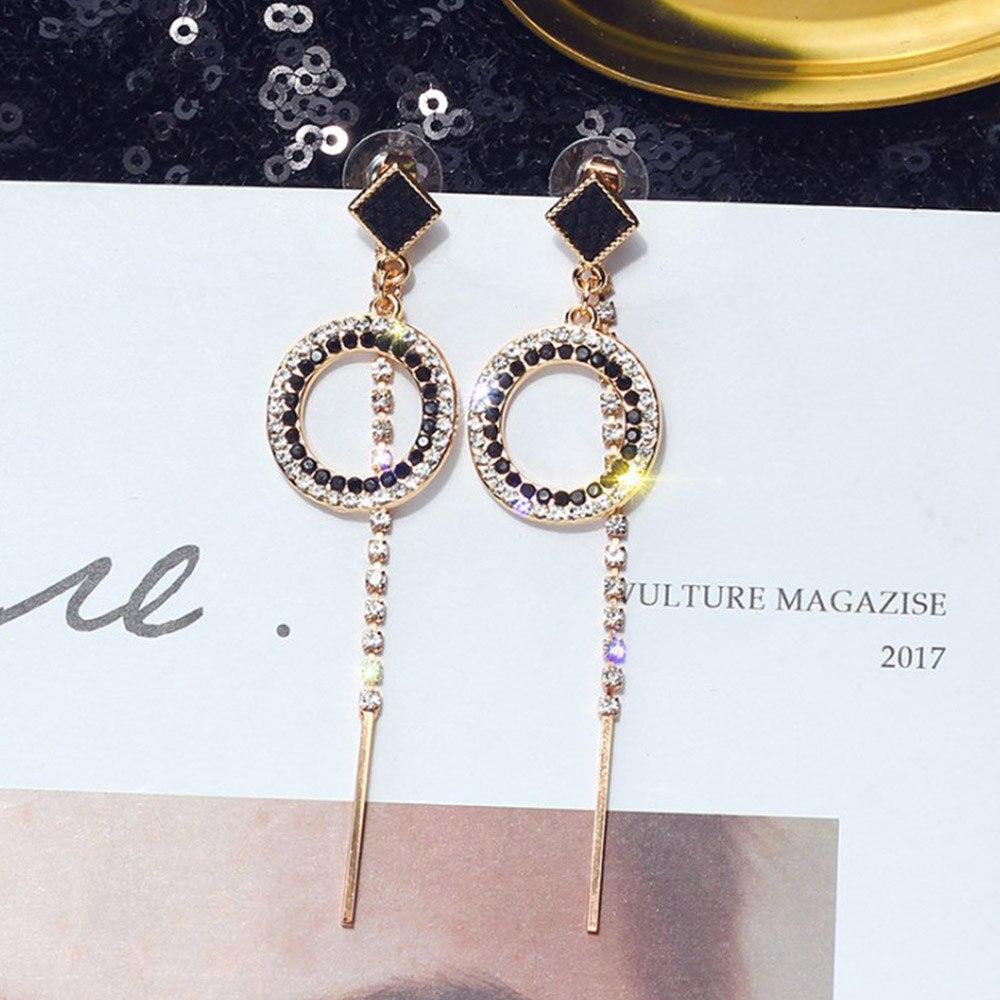GEEZII a pair of wearing drop earrings Korean asymmetric long fringed retro drop earrings fashion wild jewelry women female