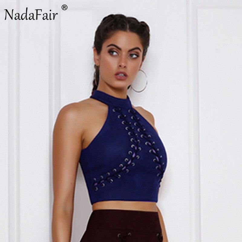 Nadafair Sleeveless Turtleneck Lace Up Wrap Sexy Club Crop Tops Fashion Women Criss Cross Suede Tank