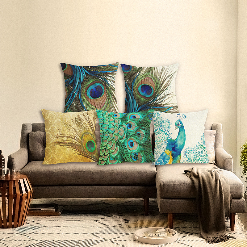 High Quality Fashion Style Peacock Chair Peacock feather Cushion Cover Soft Pillow Case Cojines Almofadas Cotton Linen Square