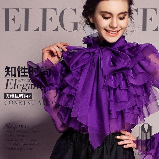 2018 Women Blouses Slik Lace Shirt Tops Vintage Runway Ruffle Blouse Long Sleeve Ladies Spring Summer Top Office Shirts Clothing