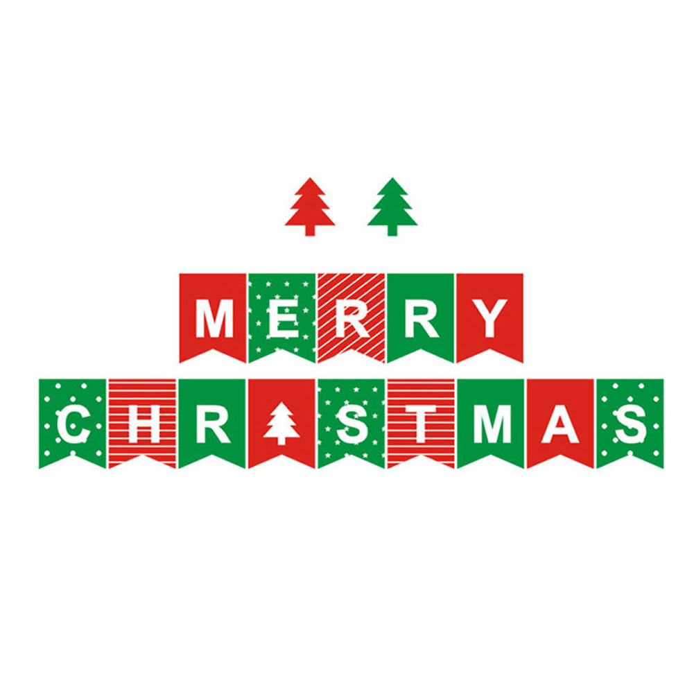 Merry Christmas Bunting Garland Banner Hanging Flag Home Shop Xmas Party Decor
