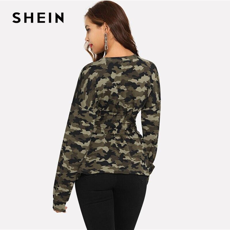 b7328fef88c3d SHEIN Army Green Lace Up Waist Camo Print Sweatshirt Rock Camouflage Long  Sleeve Round Neck Pullovers Women Autumn Sweatshirts-in Hoodies &  Sweatshirts from ...