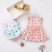 2017 Summer Baby Girls Short Sleeve O Neck Cute Birds Print Princess Bow Tutu Infant Dress