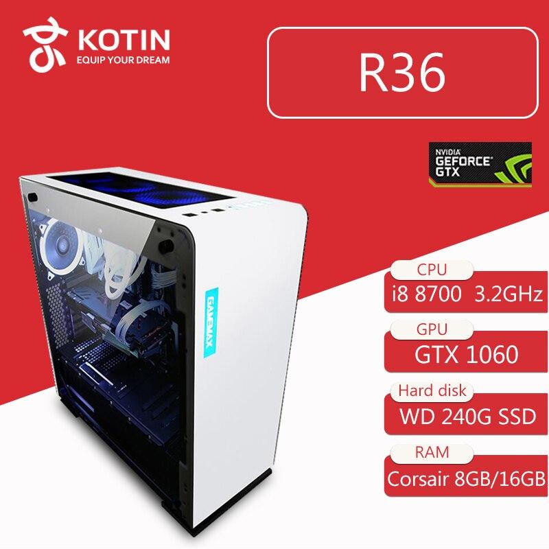 Kotin R36 Intel i7 8700 Jogos Para PC Desktop 240 gb SSD GTX 1060 Placa Gráfica Do Computador Intel Casa 8th Geração CPU 5 Livre Fãs