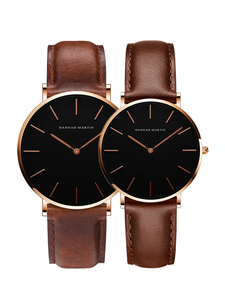 Image 1 - 2pcs/ set Japan Movement Leather Strap Casual Fashion Women Top Brand Luxury Waterproof For Couple Watches relogio feminino