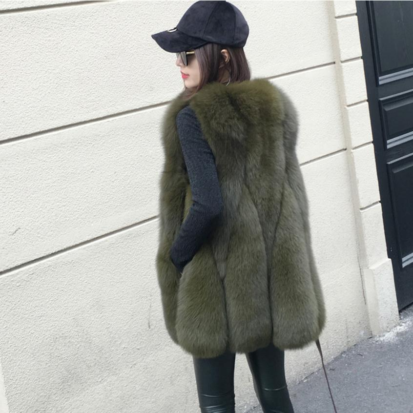 New Arrival 2017 Winter Warm Fashion brand Women Faux Fur Vest Faux Fur Coat Fox Fur
