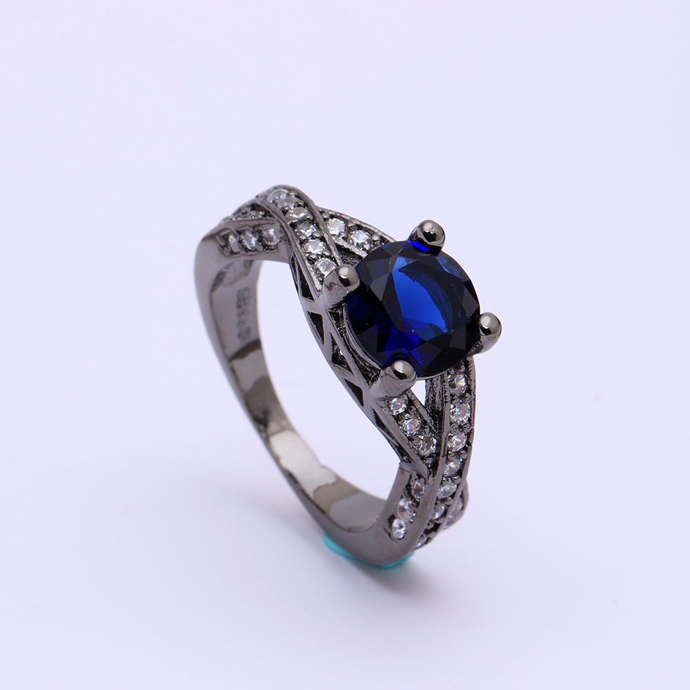 Black Gold Color Wedding Rings Wholesale Cross Design