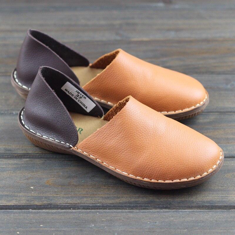 De coffee En Color 2019 Brown Mocassins fait Chaussures mixed Main Chaussure Féminine Dames 953 Plates Sur Véritable 1 Slip Femmes Cuir 100 14wFX0