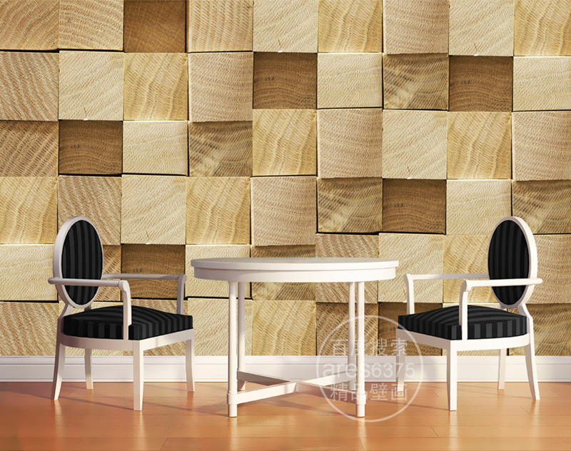 Buy custom 3d wallpaper wood block photo for 3d wallpaper for home decoration