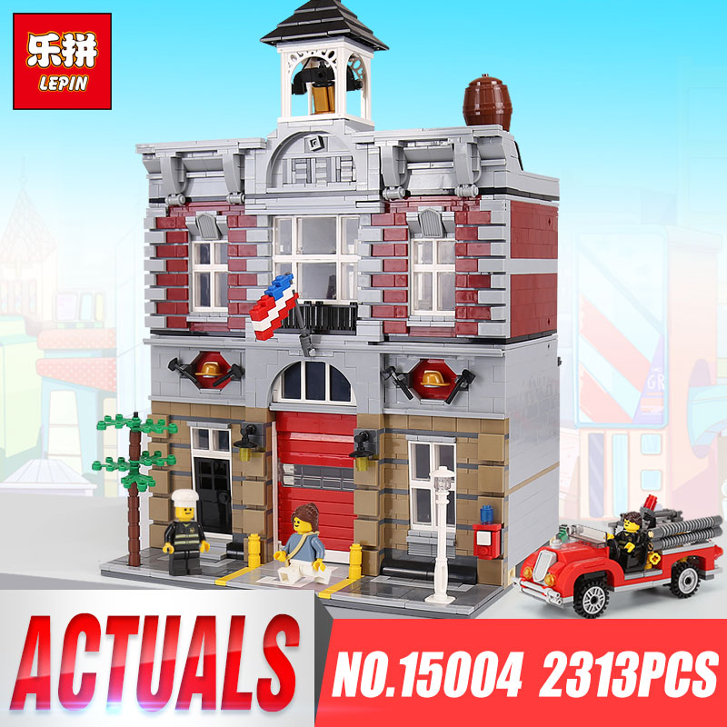 LEPIN 15004 2313Pcs City Street Fire Brigade Model Building Kits Blocks Bricks Compatible legoINGlys 10197 Brick Birthday Gifts lepin 15018 3196pcs creator city series sunshine hotel model building kits brick toy compatible christmas gifts