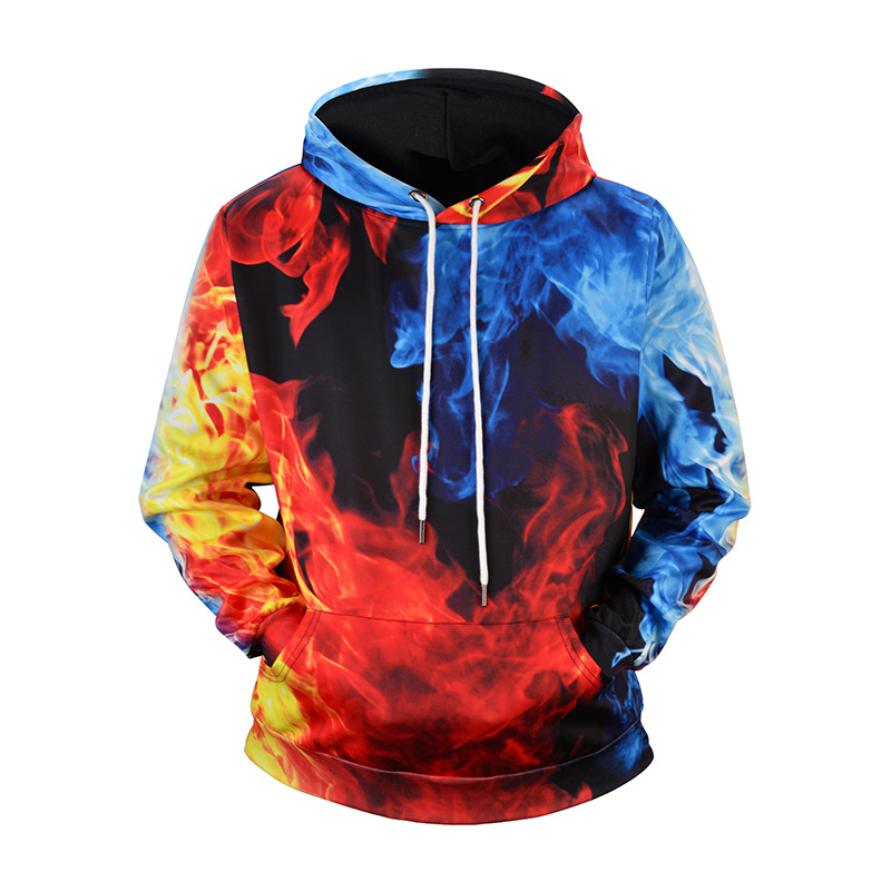 Men Hoodies Sweatshirts Funny 3D Oil Water And Fire Printed Unisex Hooded Sweatshirt Loose Casual Tops Dropshipping