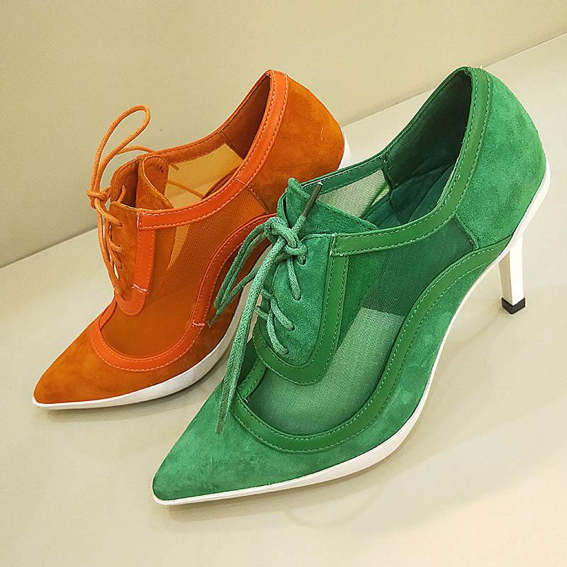 2936d9960513bc Hauts gris Femmes Croix Chaussures Cm attaché Nouveauté 2019 Noir De Pointu  Version orange 8 Pompes vert Coréenne 5 Femme Lacets Dame Talons ...