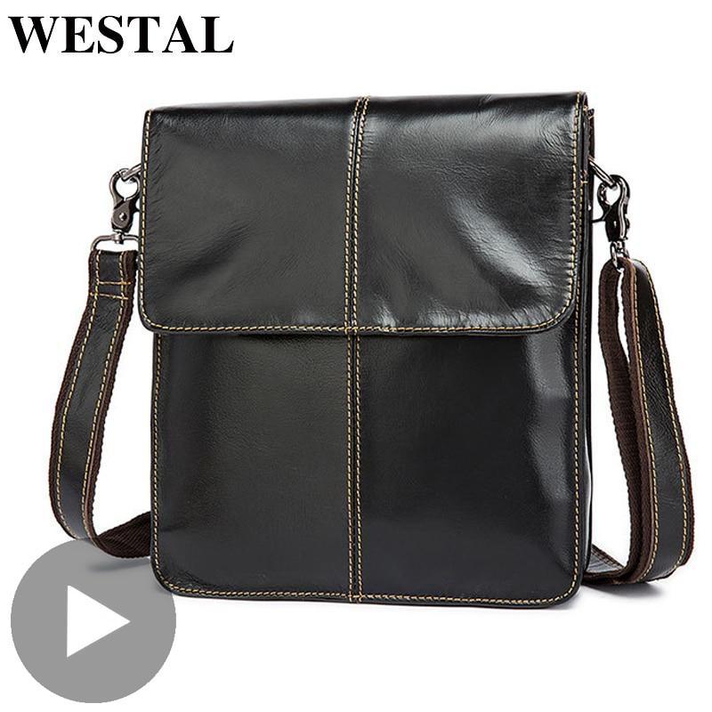 Westal Small Shoulder Messenger Women Men Bag Genuine Leather Briefcase Office Business Work For Handbag Male Female Portafolio