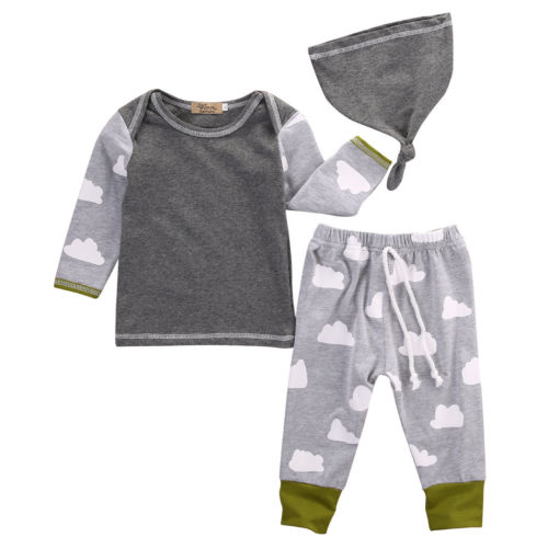 Fashion Newborn Baby Girls Boys Clothes Cloud T-shirt Tops+Pants Leggings Casual Hat Cotton Outfits Set 3pcs Clothing Set