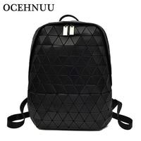 OCEHNUU Diamond Lattice Women Backpack Shoulder Soft Leather Geometry Ladies Backpack For School Zipper Backpack Rucksack Bag