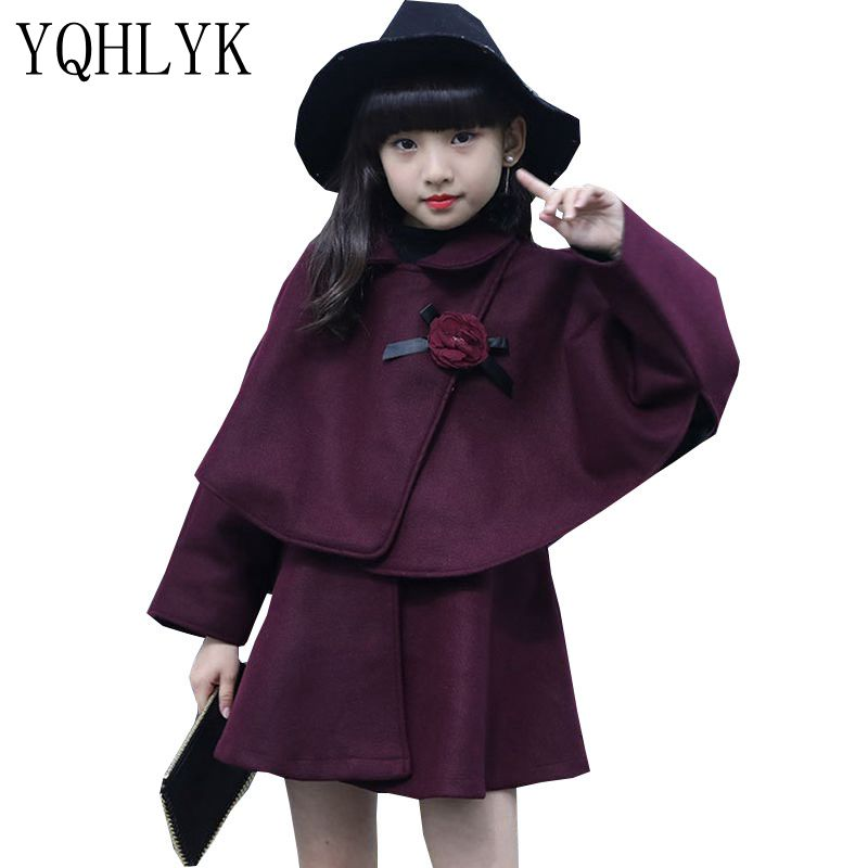 New Fashion Autumn Winter Girls Suit 2018 Children Woolen Tops + Princess Vest Dress Sweet Elegant Kids Clothes 2PSC Set W72 2017 new fashion spring autumn girls two pieces suit children coat princess dress suit korean leisure sweet kids clothes dc129