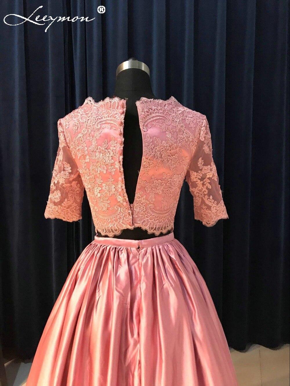 Real rojo púrpura dos piezas Encaje manga corta Vestidos de novia ...