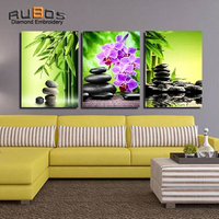 RUBOS DIY 5D Diamond Mosaic Flowers Bamboo Orchid Embroidery Triptych Diamond Painting Wall Modular Picture 3D