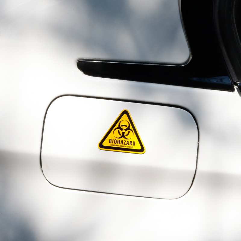 Biohazard warning symbol black yellow triangle thin aluminium emblem sticker car styling resident evil danger caution sign decal in emblems from automobiles