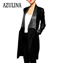 AZULINA Faux Leather Spliced Jacket for Women European Winter 2016 Black Long Open Stitch Slim Coat Ladies Elegant Overcoat PU