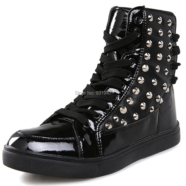 3103e6ea15c1 US $47.65 |Cool Fashion Punk Rivet Studded PU Leather Ankle Boots Mens  Street Hip Hop Rock Shoes High Tops Lace Up Spring Autumn Trendy Hot-in  Ankle ...