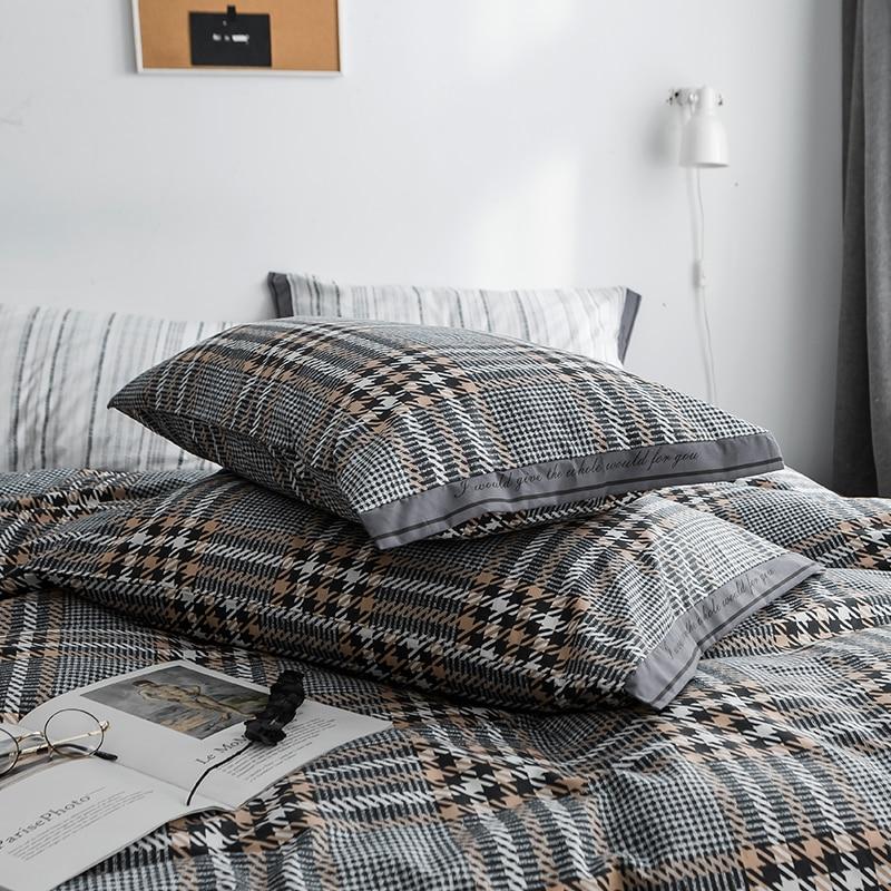 Schwarz grau plaid Bettwäsche Sets 100% baumwolle Bettwäsche Bettwäsche Bettlaken/ausgestattet blatt Kissenbezug/bett Sets königin könig größe 4 stücke - 4